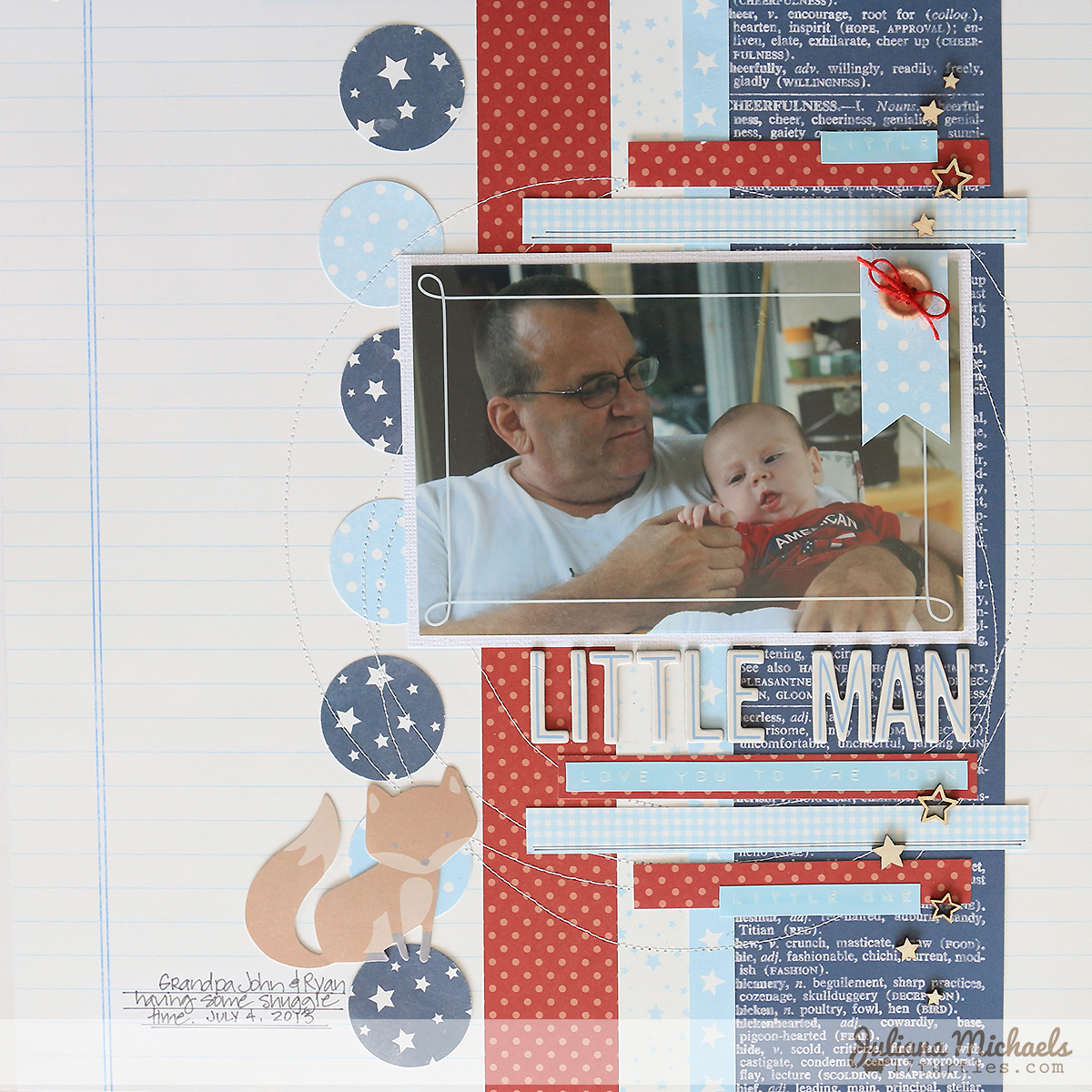 Little Man Scrapbook Page by Juliana Michaels Pebbles Inc Special Delivery Boy #pebblesinc #specialdelivery #scrapbookpage