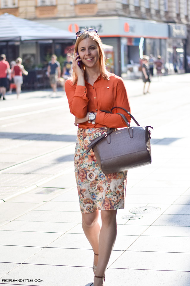 smart casual workwear womens, Pencil skirt orande button down shirt, Street style in Zagreb, summer fashion, June 2015. What to wear to work in summer