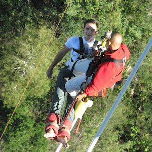 Ascending to platform after bungee jumping, Bloukrans Bridge, South Africa