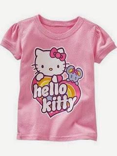 Gambar Baju Kaos Anak Hello Kitty Pink Lengan Pendek Merah Jambu