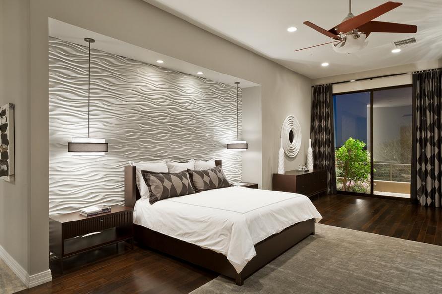 Декор стен в спальне фото