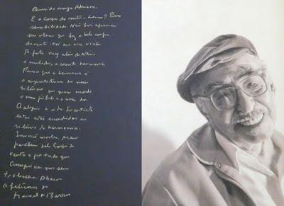 A caligrafia miúda do gigante poeta Manoel de Barros, em correspondência com a fotógrafa Adriana Lafer.