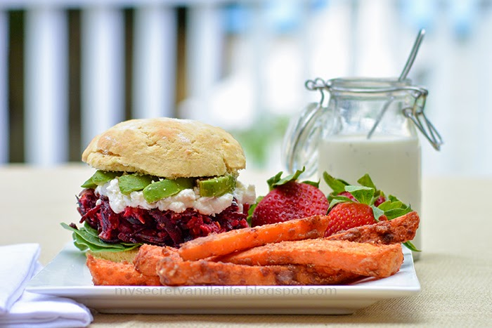 Grilled Beet Burger with goat cheese, spinach, avocado, ranch dressing ...