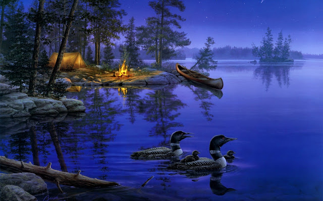 Night in Camp with River in Night