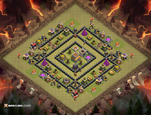 Coc th8 war base layout and trophy base coc clan of clans top clans