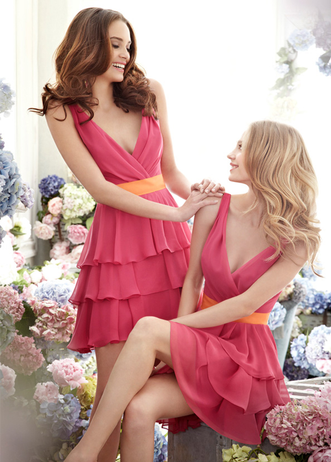 Jim hjelm occasions bridesmaids fall 2012 collection for Pink and orange wedding dresses