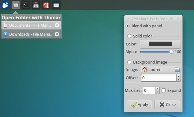 FILES DOWNLOAD: DockBarX Xfce4 Panel Plugin Updated With Panel Blending