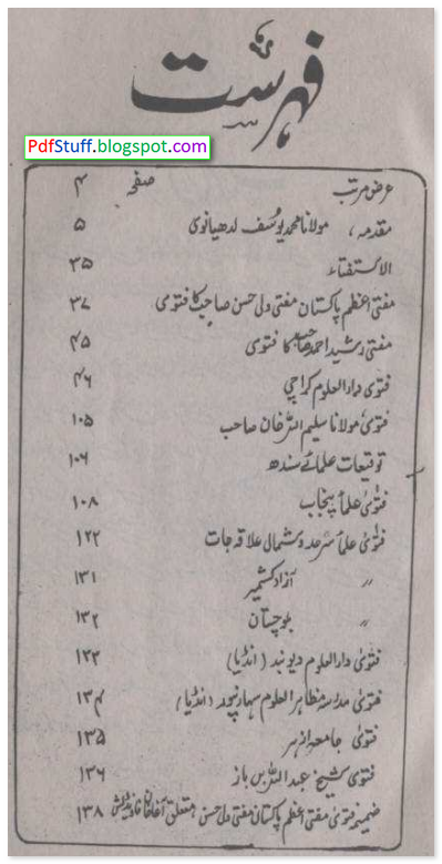 Contents of the Urdu book Aagha Khaniyat Ulamae Ummat Ki Nazar Mein