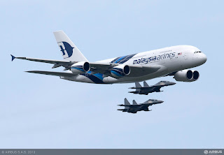 A spectacular flying display with one of the Malaysia Airlines A380s