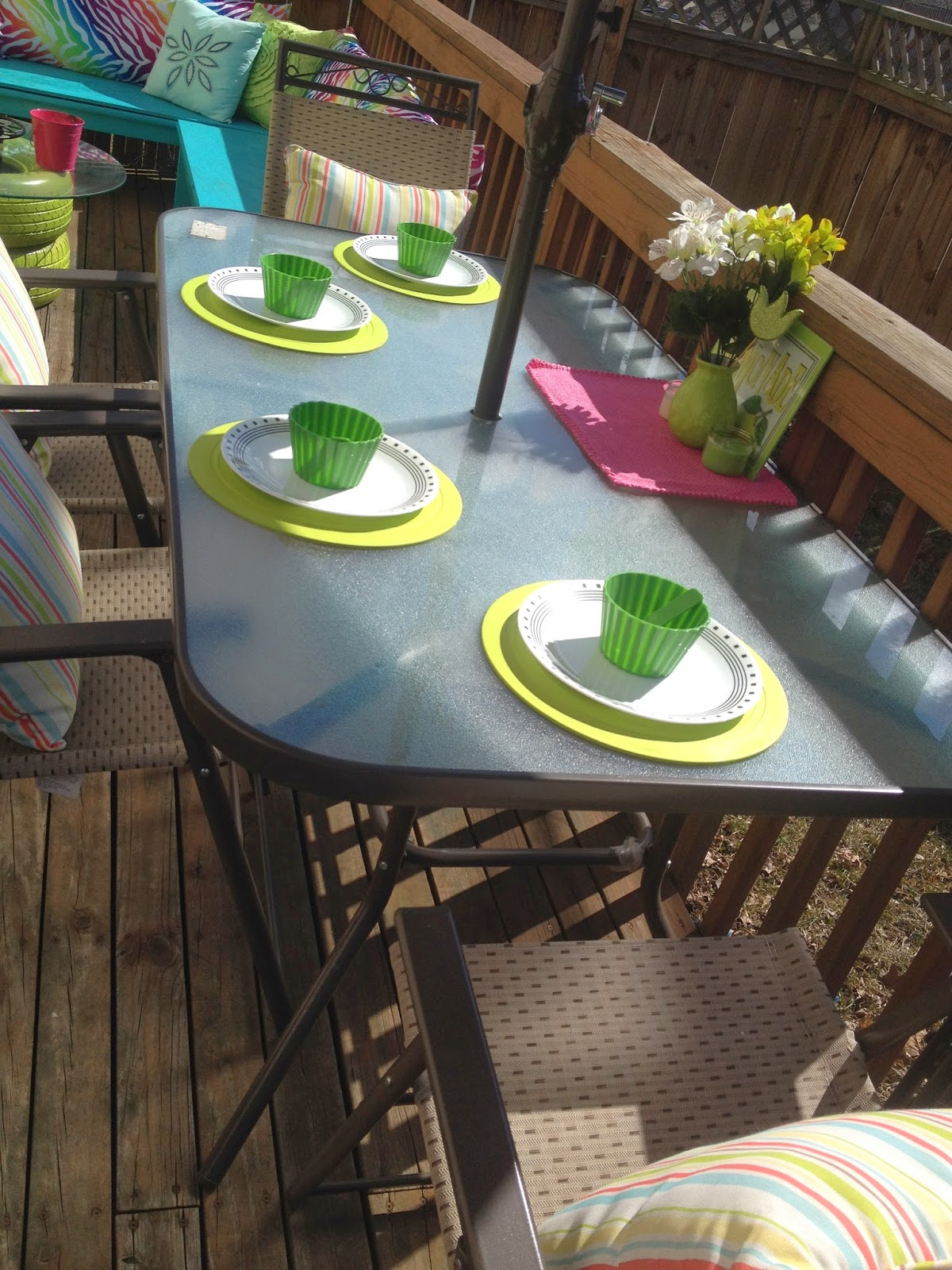 Colorful deck place setting