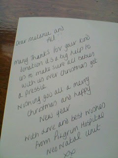 another lovely thankyou note from pilgrim hospital xxx