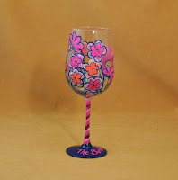 Floral Pattern Hand Painted Wine Glass