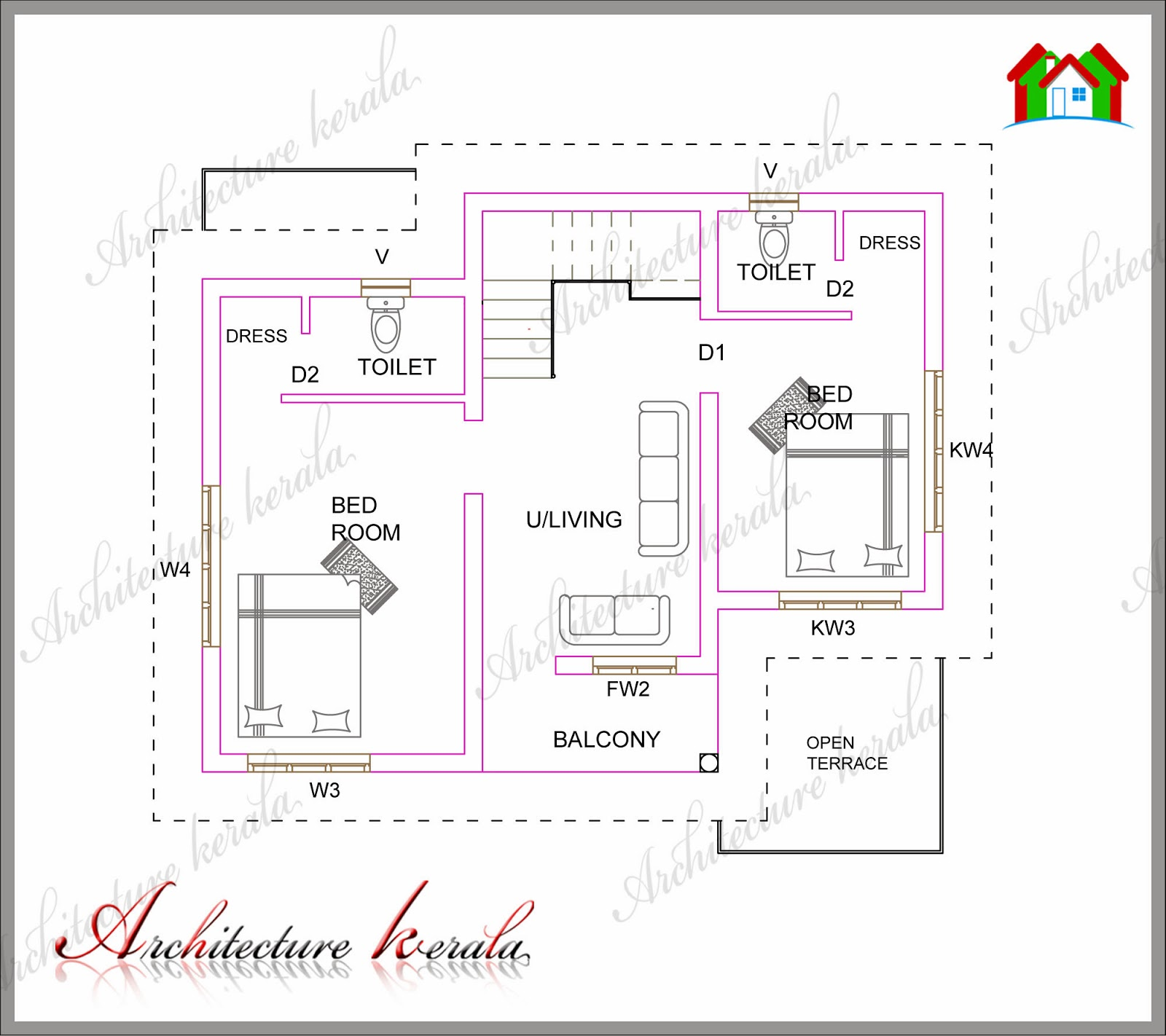 A small kerala house plan architecture kerala for Kerala style 2 bedroom house plans