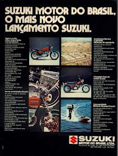 propaganda moto Suzuki - 1975.  brazilian advertising cars in the 70. os anos 70. história da década de 70; Brazil in the 70s; propaganda carros anos 70; Oswaldo Hernandez;