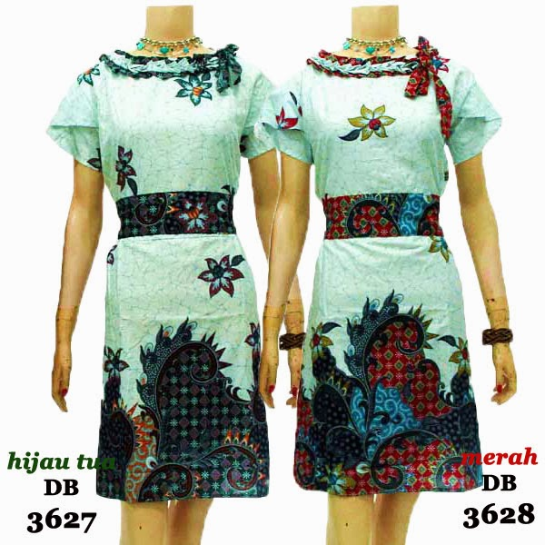 DB3627-3628 Mode Baju Dress Batik Modern Terbaru 2014