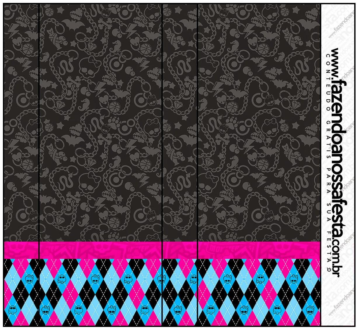 Etiquetas de Monster High Negro para imprimir gratis.
