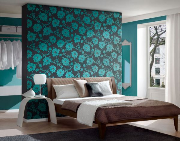 Librarian tells all flocked wallpaper for your swanky for Turquoise wallpaper for bedroom