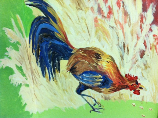 rooster mural painting