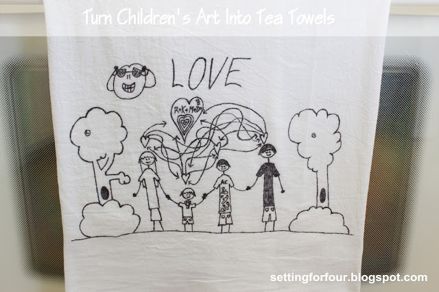 Great Present Idea! Kid's Art made into Tea Towel from Setting for Four # diy #tutorial #present #craft #activity #kid #child #towel