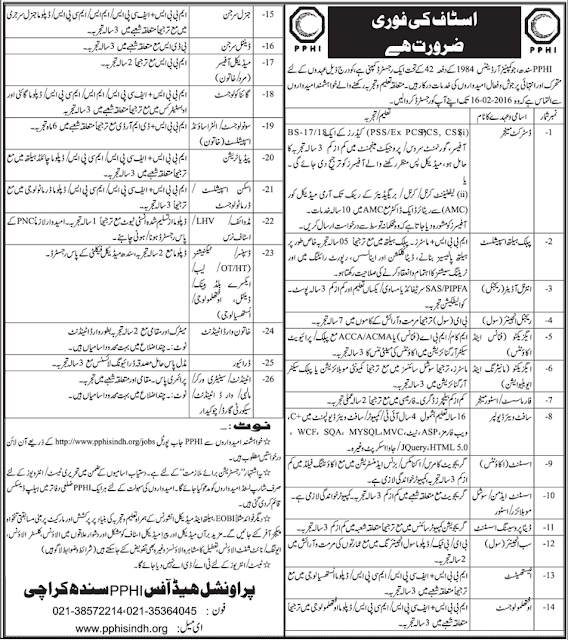 MBBS Doctors, Admin & accounts Jobs at PPHI Karachi