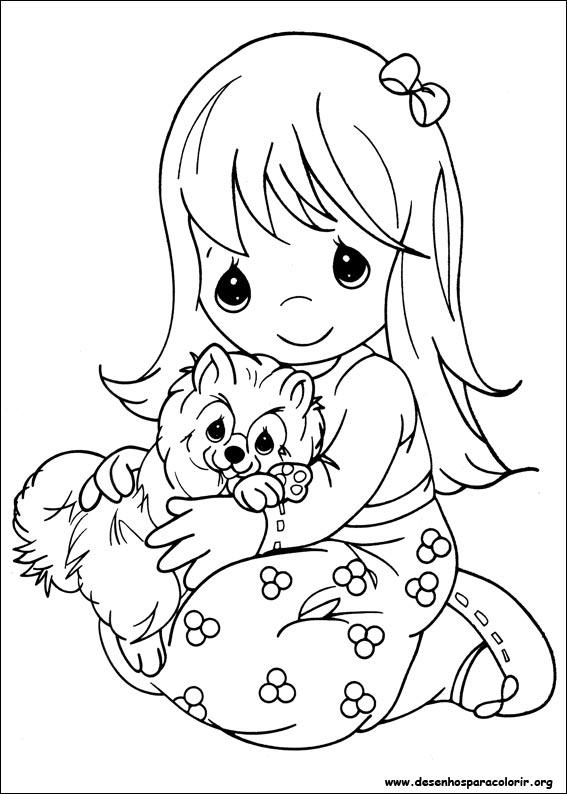 Well-known Desenhos - Criança Com Cachorrinho no Colo - Colorir e Pintar - QDB MX87