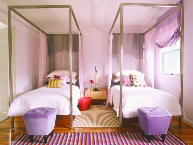 Purple pink two girls bedroom ideas for Purple and pink bedroom ideas
