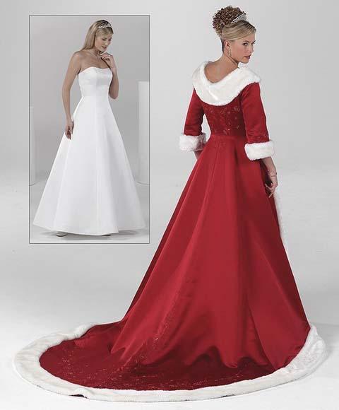 Wedding dresses red winter wedding dress white ball gown strapless