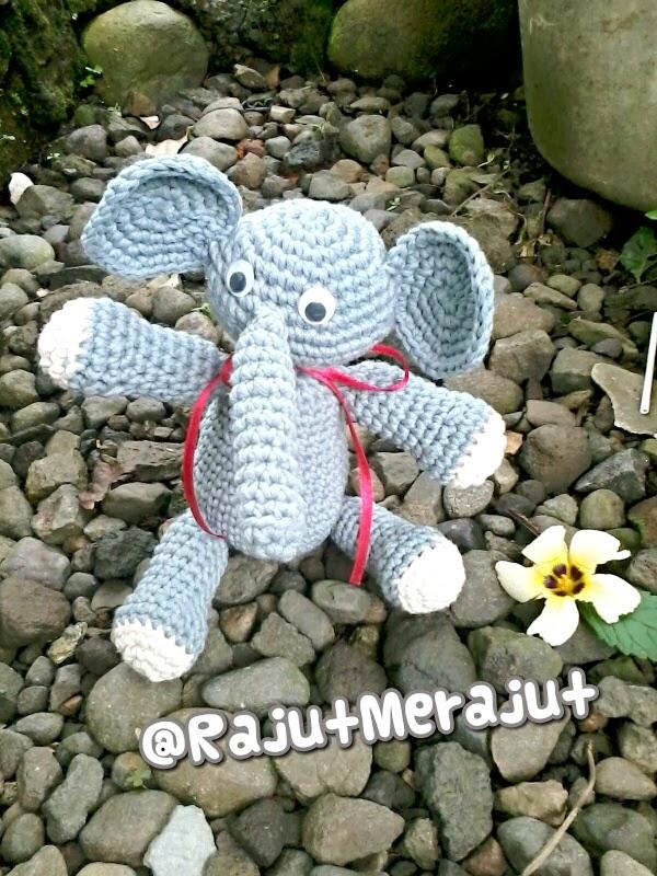 Amigurumi Gajah, elephant amigurumi, boneka rajut, boneka rajut gajah, boneka gajah, cara membuat boneka rajut, jual boneka rajut