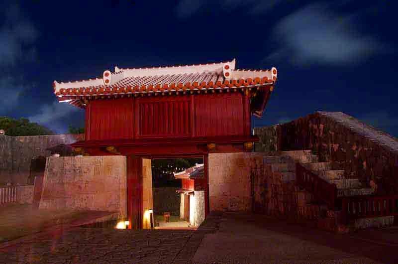castle gate, night