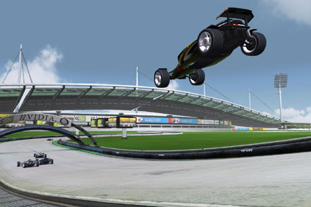 Image of two cars jumping down onto some race track in the PC game Track Mania.
