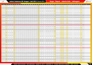 Jadwal KRL per 1 April 2013 Bogor/Depok-Jakarta Kota/Jatinegara