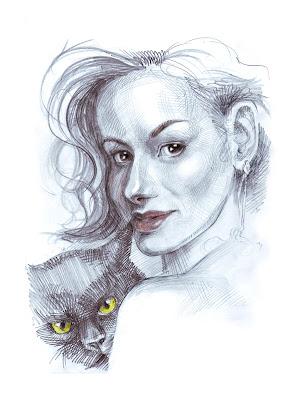 Femme avec un chat, portrait par Igor Lukyanov (hachures croisées)