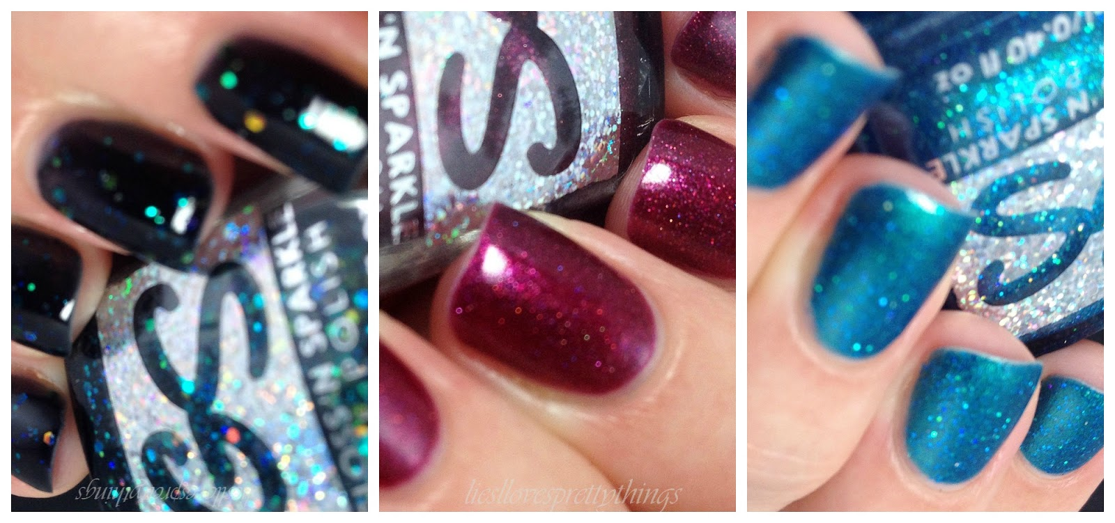 Gloss N Sparkle Symmetry, Above Deck, and Harlot swatch and review