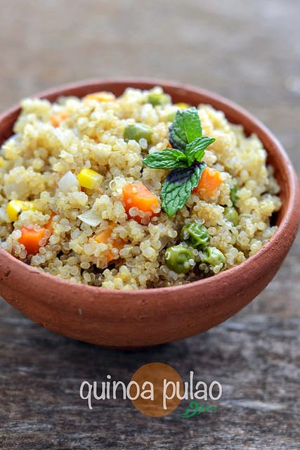 Quinoa vegetable pulao recipe easy indian recipes with for Quinoa recipes indian