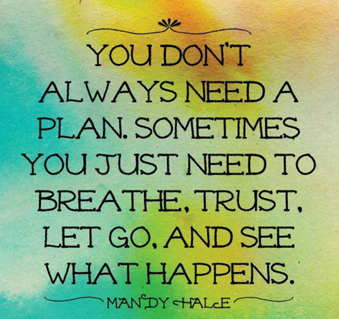 You don't always need a plan. Sometimes you just need to breath, trust, let go, and see what happens. Mandy Hale