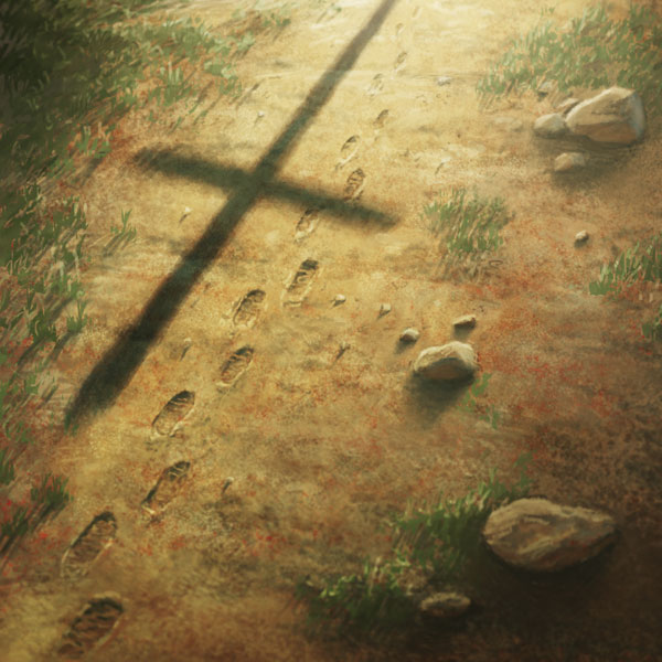 Walking in the shadow of the cross, following Jesus Christ.