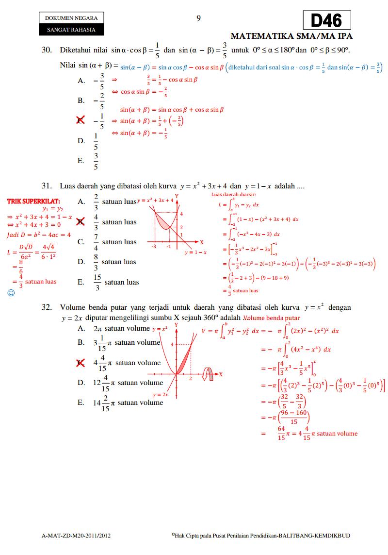 Soal Un Matematika 3 Sma Ipa Paket D46 Ta 2011 2012 Download Soal Sma Ma Gratis
