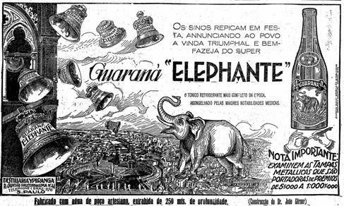 Propaganda do Guaraná Elefante de 1927 - produzido pela Bebidas Ipiranga.