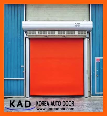 high speed doors linked with air-curtain or air-shower blows dust and insect near the door.