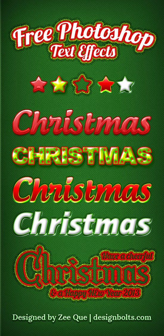 Free Christmas Photoshop Text Effects 2014