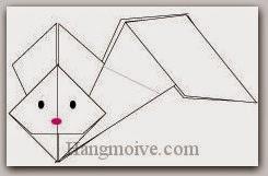 Bước 15: Vẽ mắt mũi để hoàn thành cách xếp con thỏ bay bằng giấy theo phong cách origami.