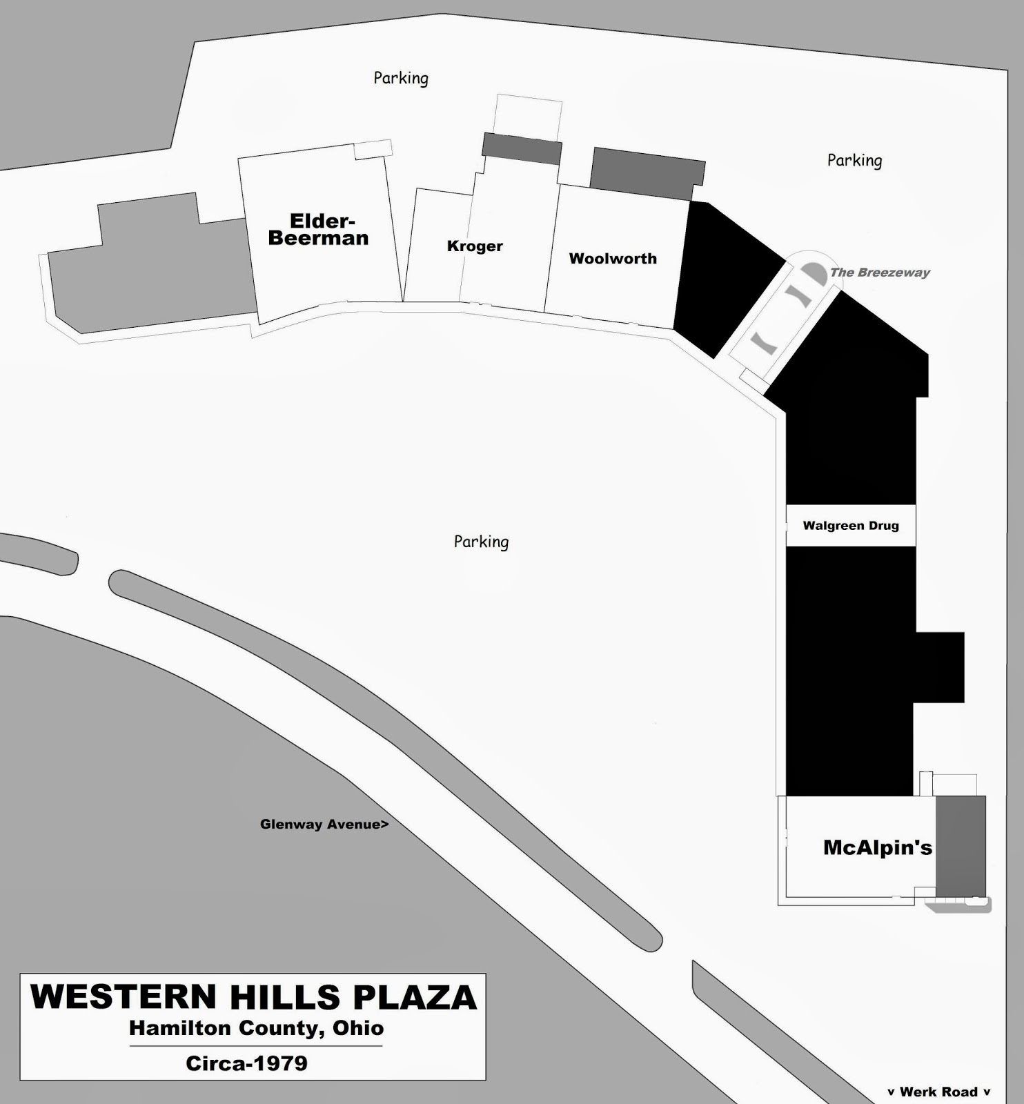 mall hall of fame by 1979 three stores in western hills plaza had been enlarged shown in dark gray moreover mabley carew was sporting a new plate that of
