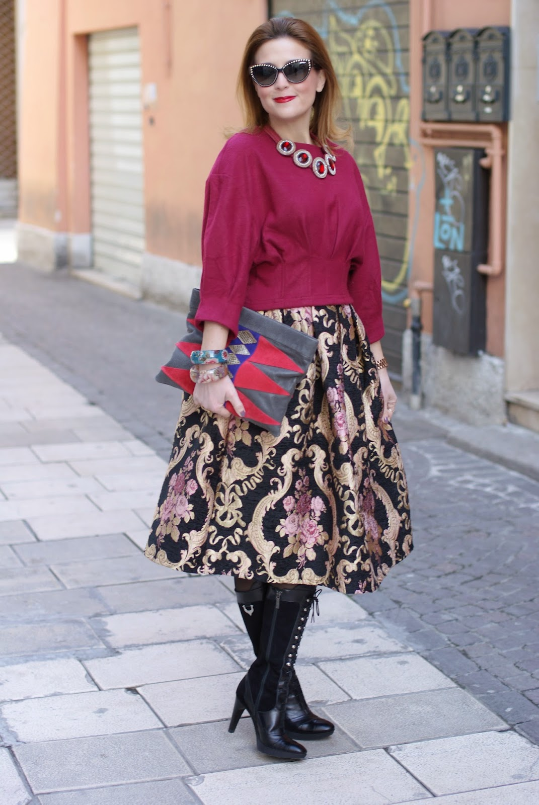 Russian doll trend, Valentines day wishes, baroque roses midi skirt, Fashion and Cookies fashion blog, fashion blogger