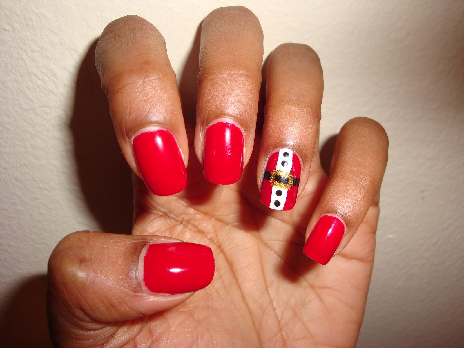 ArtzeeNailz: Red Nails with Santa Suit