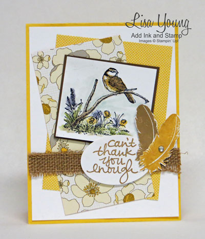 Stampin' UP! Moonlake stamp set. Lovely Amazing You stamp set. Feather accents. Park Lane paper. Nature card . Made by Lisa Young, Add Ink and Stamp