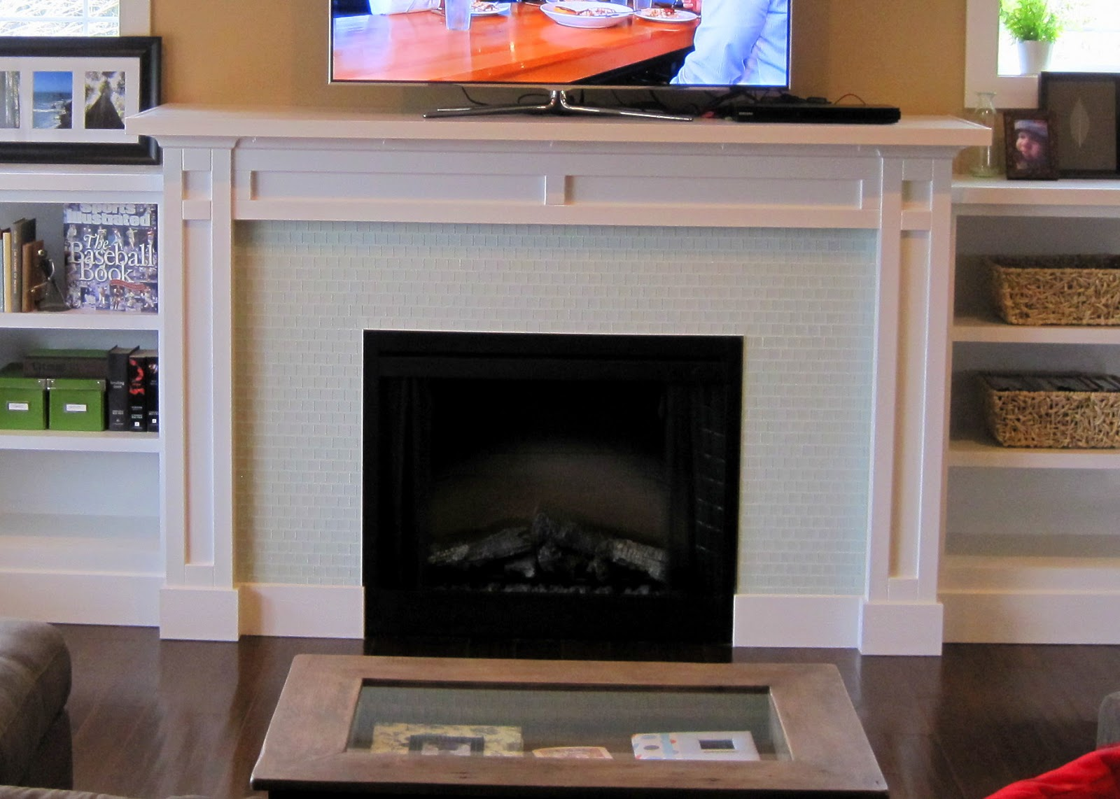 I married a tree hugger casual comfy craftsman living room for Craftsman fireplace pictures
