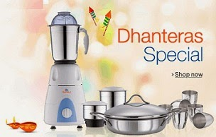 Dhanteras Special Discount Offer on Kitchen & Home Products: Upto 40% Off+ Extra 15% Off on Small Appliances | Upto 40% Off on Kitchen & Dining