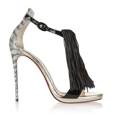 Manolo Blahnik Stiletto barely there sandals with black fringe detail