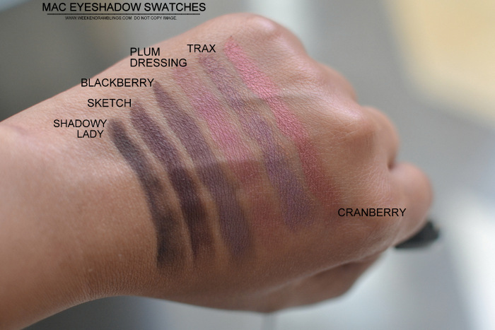 MAC Cosmetics Makeup Eyeshadows Swatches Shadowy Lady Sketch Blackberry Plum Dressing Trax Cranberry Indian Darker Skin NC45 Beauty Blog