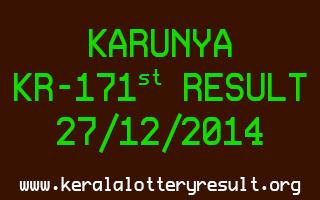 KARUNYA Lottery KR-171 Result 27-12-2014